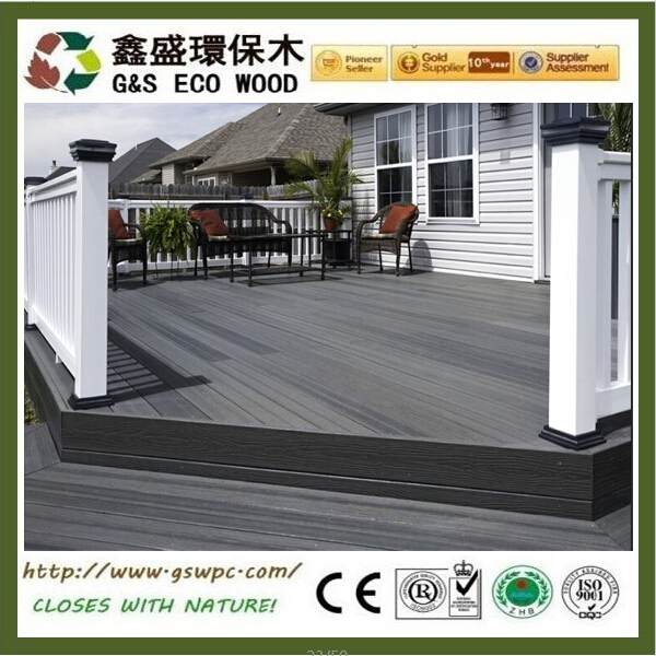 Eco-friendly outdoor Waterproof terrace black composite decking high quality wpc decking