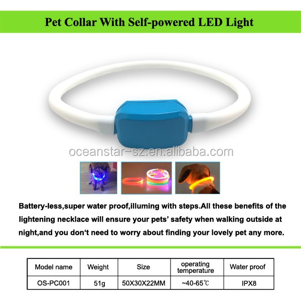 Pet Collar With Self-powered LED Light