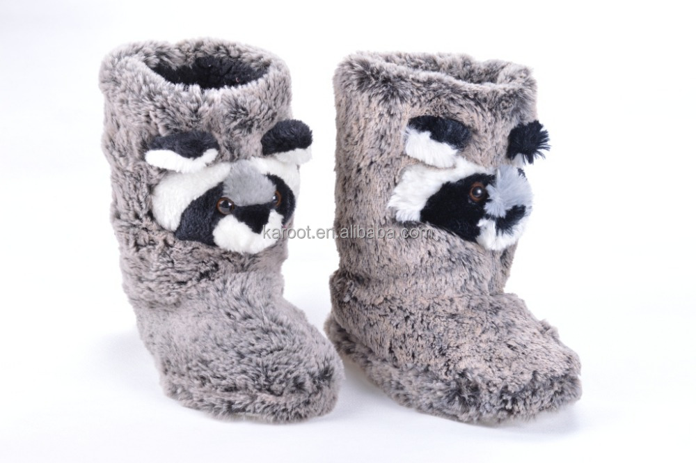 cuit gray panda children slipper boot indoor fur winter snow boot plush slipper