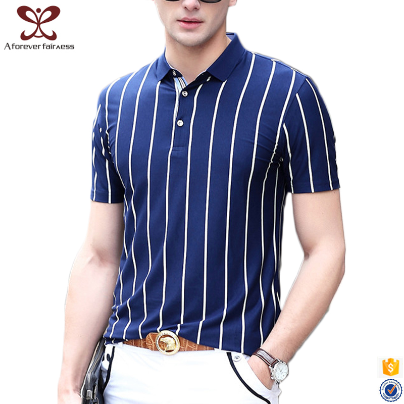 2017 Summer Fashion Men's Vertical Striped t shirts Wholesale Short Sleeve Slim Fit Casual 100% Cotton Polo t shirt