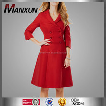 new european style double-breasted front button fastenings long sleeve knee length stunning ladies dress coats