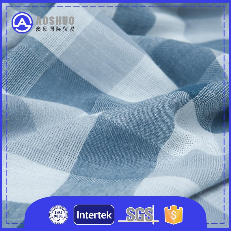 Support customize blue and white plaid fabric for man