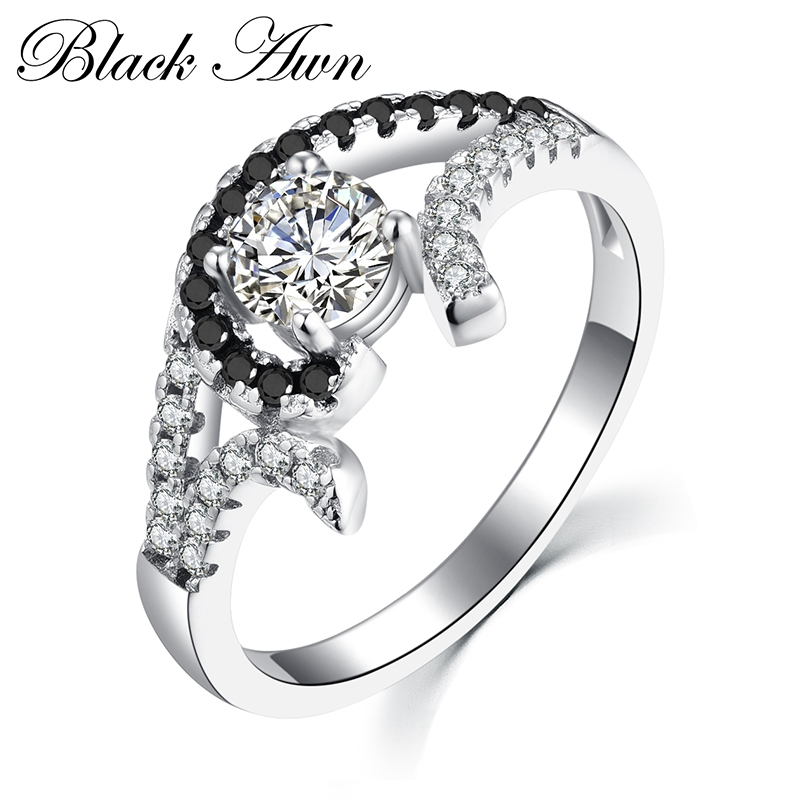 [BLACK AWN] Genuine 100% 925 Sterling <strong>Silver</strong> Black&White Stone Rings for Women Jewelry Femme Ring Bijoux C228