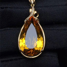 Crystal <strong>Charm</strong> 12.25ct Natural Citrine Yellow 18k Gold Pendant Jewelry Diamond