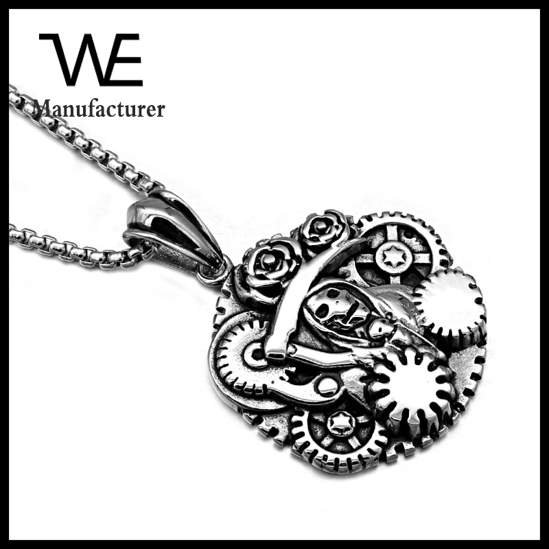 Custom men necklace wheel pendant stainless steel jewelry blanks