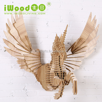 Natural style wood Flying Unicorn wall decoration