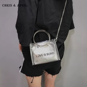Laser transparent chic chain shoulder lady jelly bags with letters
