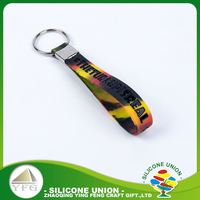 Colorful lanyards monochrome silicon keychain