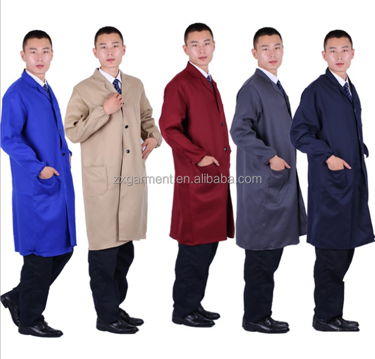 Promotion Colorful waist pockets long sleeve work smock uniforms