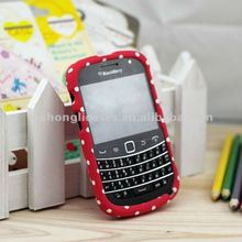 Fancy Cell phone back case for Blackberry BB 9900, red color with little white points