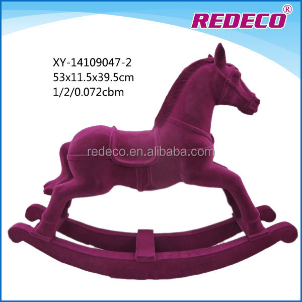 Wholesale polyresin decorative flocked rocking horse sculpture