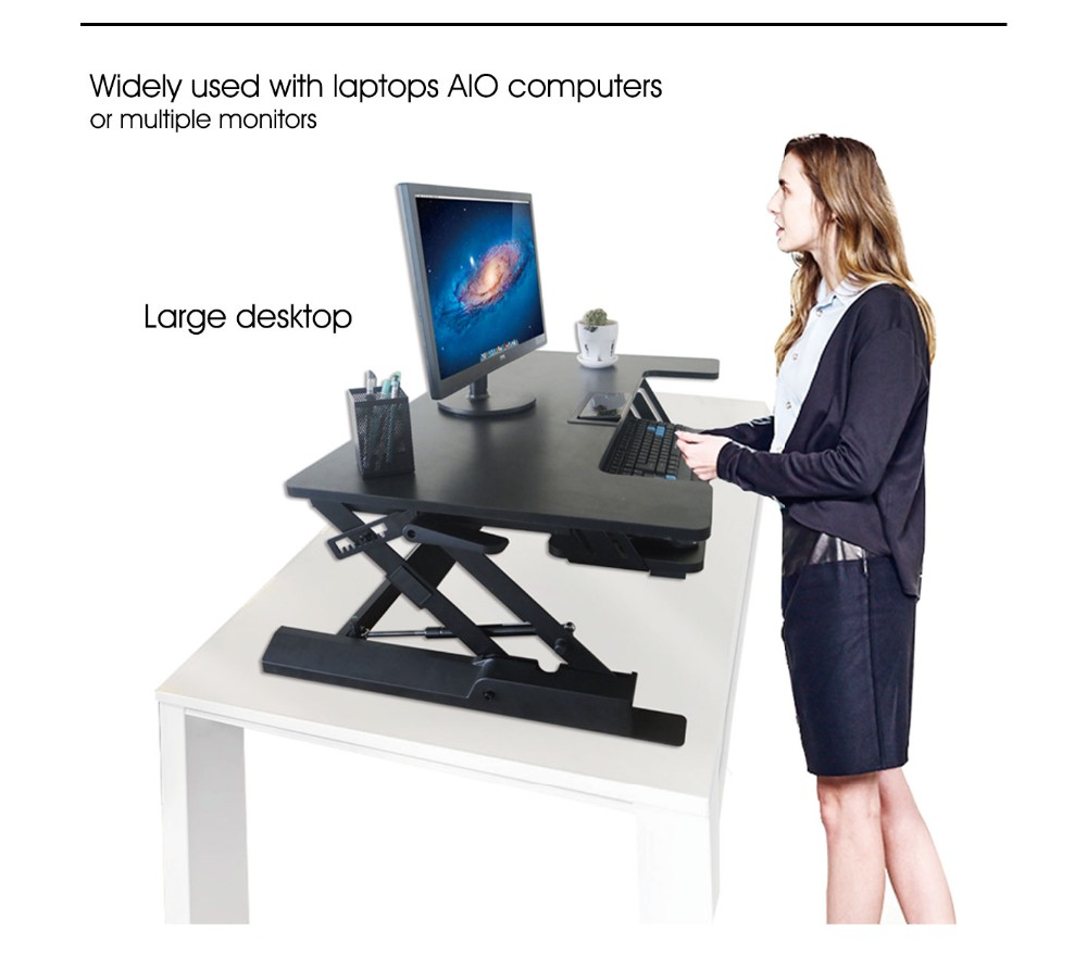 desk top workstation Aluminium Laptop Standing Office Sit To Stand Height Adjustable Desk