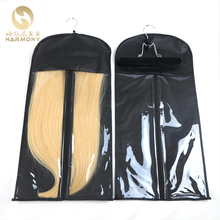 black zipper hanger hair extension packaging suit case bag for weft hair extensions clipin hair ponytail