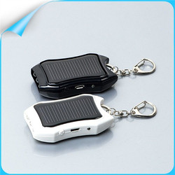 Mini flashlight keychain USB 1200mAh solar Power Bank charger