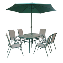 promotion outdoor patio dining table and 6 stackable chairs furniture set with umbrella