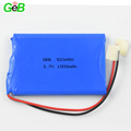 3.7v Rechargeable lithium ion 523450 1000mah li-ion aluminum hard case battery