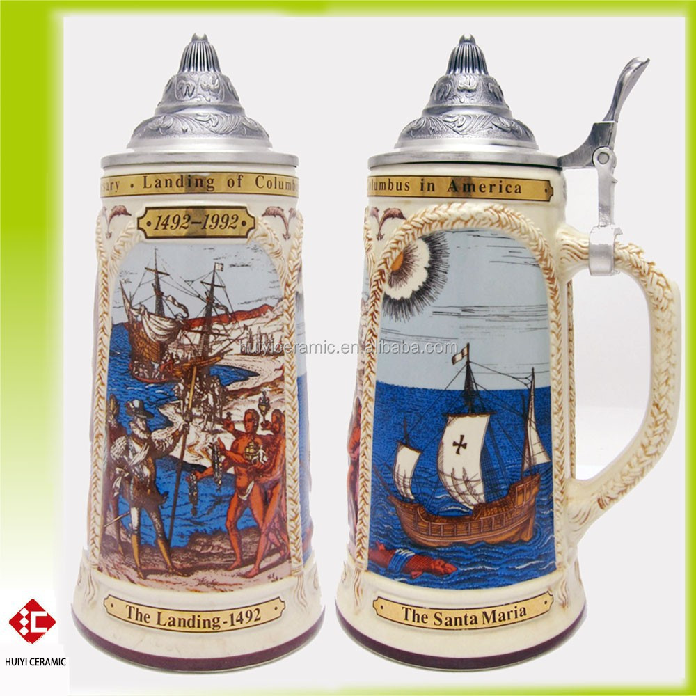 High Quality Ceramic Mug of Columbus with Pewter Lid and Decal
