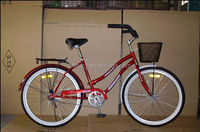 26 inch cruiser bike red color beach cruiser bicycle for woman