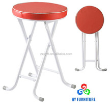 Faux leather round pvc padded seat metal folding stools wholesale