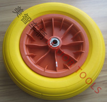 Qingdao Manufacturer Trolley solid wheel size 14x350-8 pu foam tyre with plastic rim