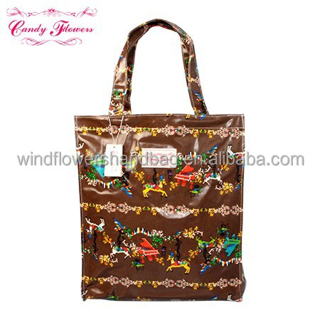 Vintage Waterproof PVC Printed Reusable Shopping Bags