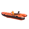 15ft 460cm RIB Boat with Fiberglass Hull Inflatable Speed Boat with Outboard Engine Motor