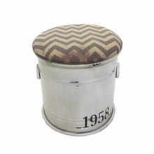 Hot sale colourful PU white color round storage metal storage ottoman