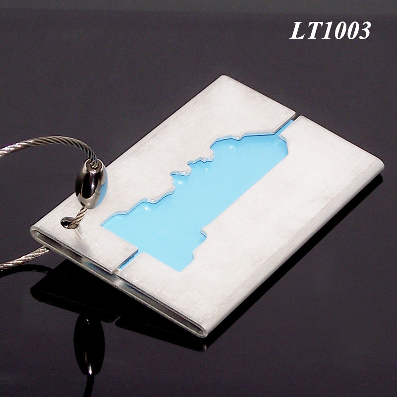 Retangular Wire Loop Silver Metal Luggage Tag Hotel Aluminum Ship-shaped Blank Fancy Credit Card Size-Long Airline Bag Tag