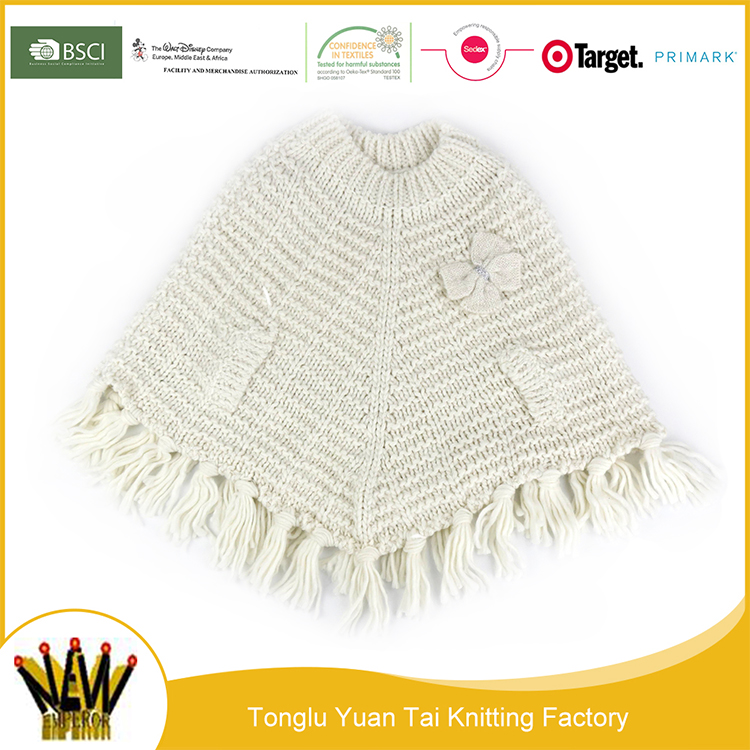 New style hot sale white crochet poncho winter shawl