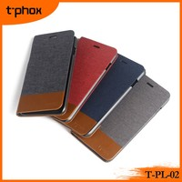 t-phox t-pl-02 stand flip wallet denim texture mobile phone leather case/cover