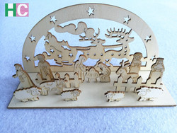 2016 laser cutting wooden crafts , wooden christmas decor