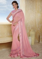 Gripping Pink Mirror Faux Chiffon Party Function Wear Designer Saree