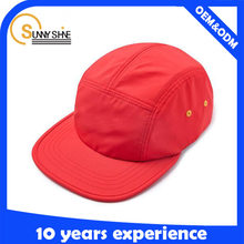 polyester clip back nylon blank 5 panel camp cap