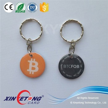 30MM NTAG216 NDEF Type2 RFID NFC Epoxy Hang Tag With Metal Ring