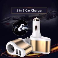 Safe Metal Fast Custom 2 Port 2 In 1 Usb Car Charger Socket for Phone