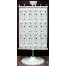Floor standing rotating metal pegboard jewelry display stand
