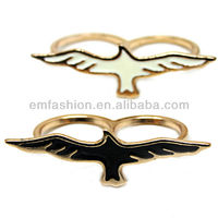 Most Popular New Flying Bird Gold Double Finger Ring