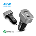42W Power Drive + Quick charge car charger,Dual USB port,Smart monitor IC,for iPhone, iPad, Galaxy S7/S6/Edge/Plus