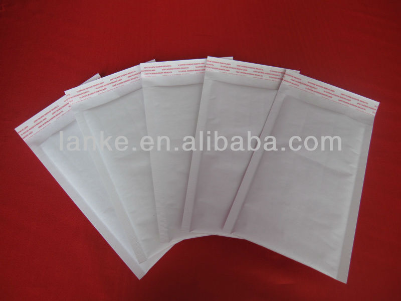 White recyclable kraft bubble mailing bag 001k