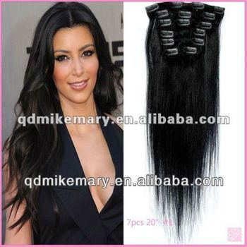 full head clip in hair extensions color 8 light brown, India/Chinese/Brazilian/Malaysian/Russian/Peruvian remy hair