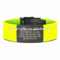 custom metal plate engrave silicone bracelet with metal clasp