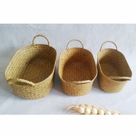 Handmade Oval Flowers Fruits Bread Picnic Gift seagrass basket