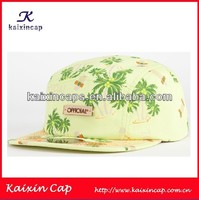 yellow color coconut tree printing pattern 5 panel hat/five panel hats with embossed wood logo