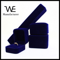 High Quality Blue Velvet Ring Bracelet Jewelry Gift Box Wholesale Provide Custom