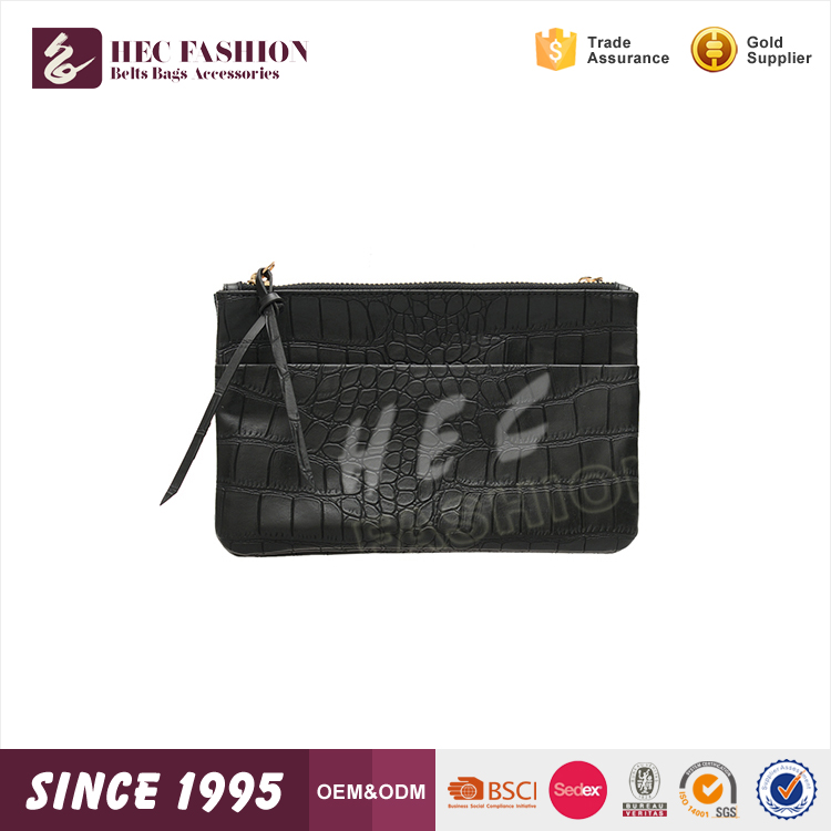 HEC Wenzhou OEM Manufactory Hot Sale Black Color Handmade Lady Leather Purse For Women