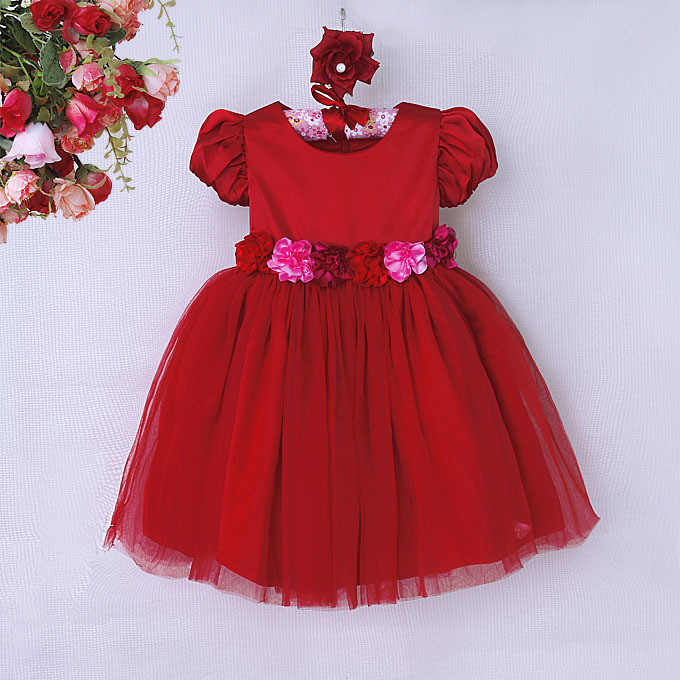 2015 Red Girls Dress Cute Puff Sleeve <strong>O</strong>-Neck Baby Party Dress With Wreath On the Waist Lace Princess Girl Kids Costume GD50414-6