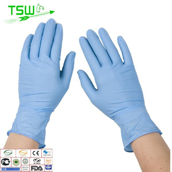 Colored nitrile exam power free gloves blue black