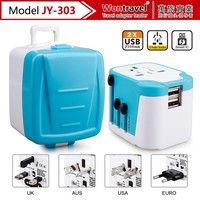 JY-303 Double USB Charger World Travel Adapter USB output 2.5A Universal Travel AC Power Plug Adaptor AC/DC travel adapter