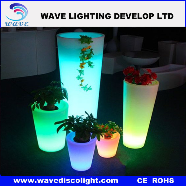 Illuminate glowing tall plastic flower pots/lighted outdoor flower pots/plastic flower pot size