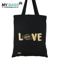 customized promotional full color printing cotton tote bag black with front pocket